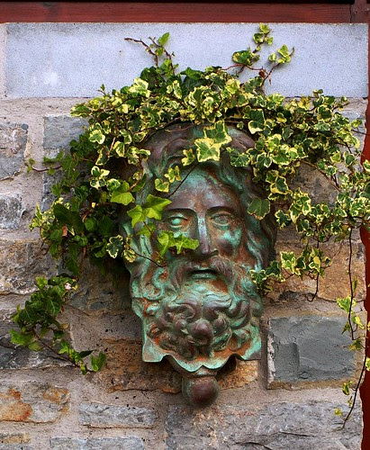 Chalice Well Gardens: Entrance Greenman by phoenixspringwater