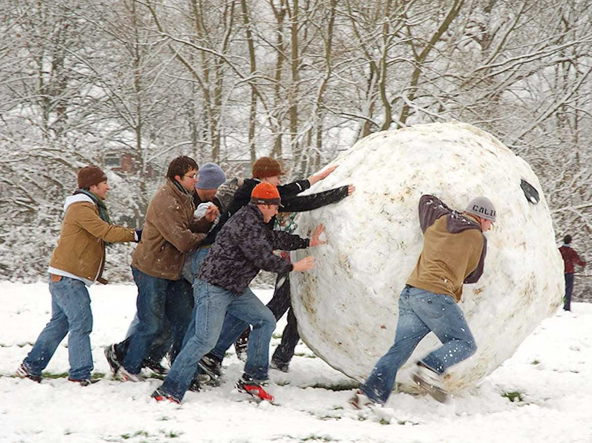 giant snowball winter kids
