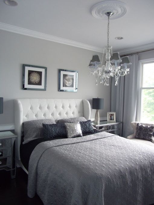 calm silver bedroom