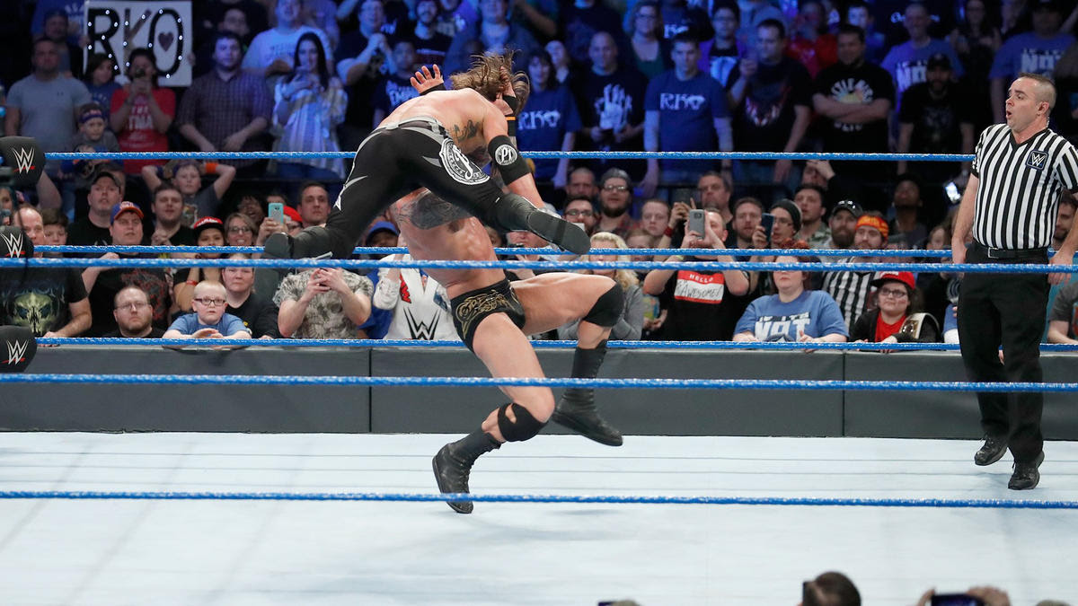 The Viper strikes with an RKO!