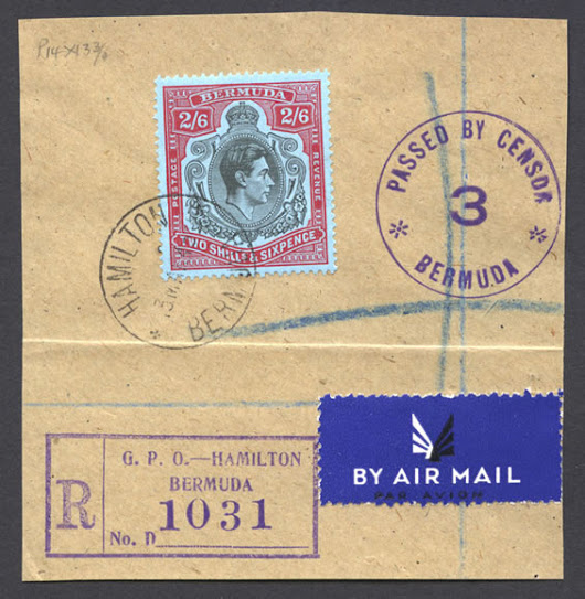 Registered Airmail 2/6 Key Plate on piece - Bermuda Stamps