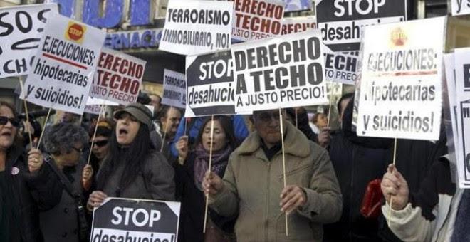 Una de las protestas organizadas por la Plataforma de Afectados por la Hipoteca (PAH).- Efe