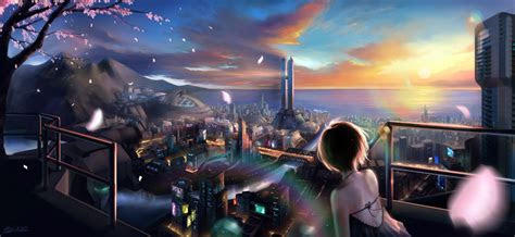 wallpaper city anime girls short hair metropolis