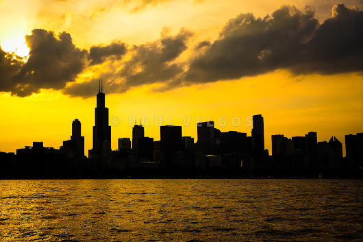 Image:  Chicago Sunset Downtown Skyline Large Canvas Print, Buy Stock Photo, Metal Wall Art, High Resolution Image
