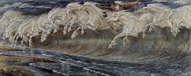 Desenho de um majestoso velho barbudo em uma carruagem flutuando no mar, desenhado por cavalos formando a espuma das ondas.