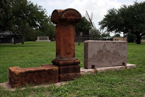 john j. welder home carriage stone and gate post