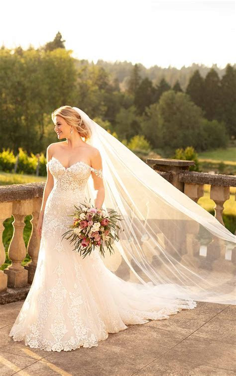 Silver Embroidered Wedding Dress with Off the Shoulder