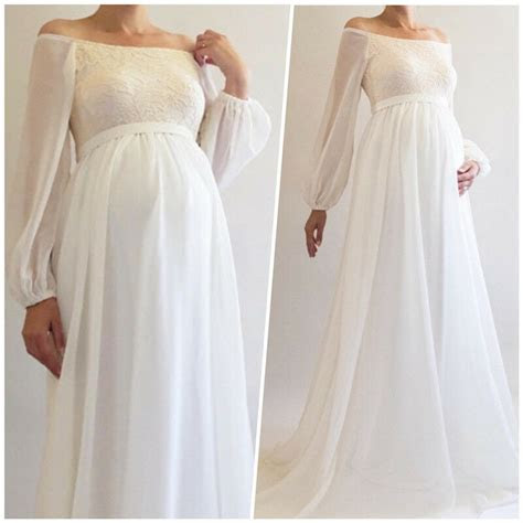 boho maternity wedding dress bridal gown long sleeve