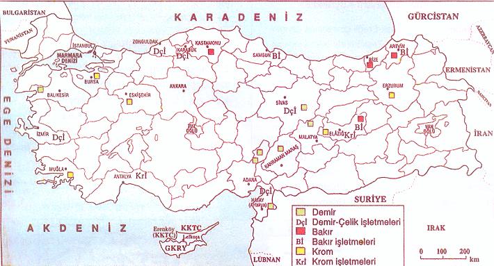 Türkiyede çıkarılan Madenler Haritası