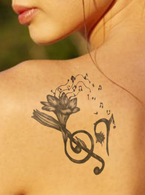 Music Note Tattoos On Woman Shoulder Tattoomagz