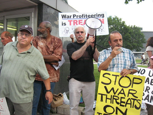 Jerry Goldberg of MECAWI, Pan-African News Wire Editor, Abayomi Azikiwe, David Sole of MECAWI and Rosendo Delgado of Latinos Unidos at the Aug. 1, 2008 demonstration in downtown Detroit against US threats on Iran. (Photo: Alan Pollock). by Pan-African News Wire File Photos