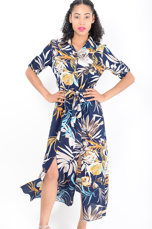 Stylish Blue Double Split Floral Dress - Shop H&S Floral Maxi Dresses