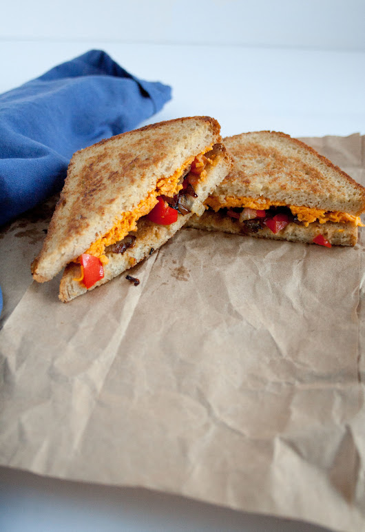 Vegan Grilled Cheese with Caramelized Onion and Red Pepper - Create Mindfully