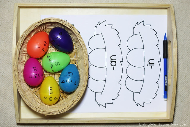 Easter Egg Word Families Tray