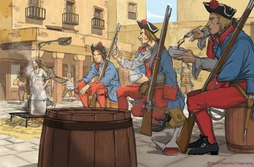 Milicians de La Coronela de Carles II fent un àpat de ranxo prop de la plaça del Born al Quarter de Mar de Barcelona.