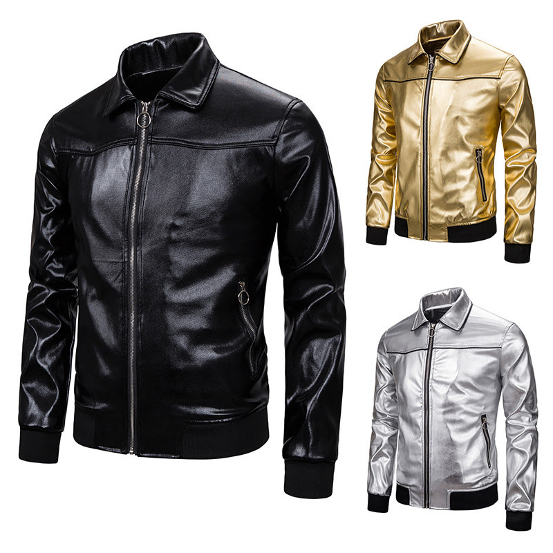 Men Leather Jackets Jackets and Coats New Bright Color for Men Lapel Full  Casual   Men Jacket Leather