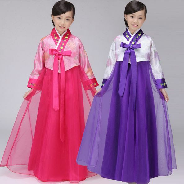 fashion classic korean traditional hanbok girls dress