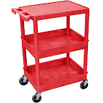 Luxor STC211 Multipurpose Flat Top and Tub Middle/Bottom Shelf Cart Red