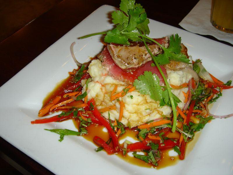 Seared Ahi Tuna Filet over Wasabi Potatoes
