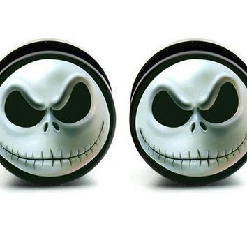 Nightmare Before Christmas Jack face ear plug gauges tunnel screw on ...
