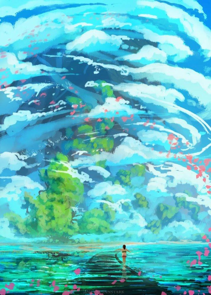 网络大神根据自己想象所绘宫崎骏动漫壁纸 你喜欢这种风格吗 天天快报