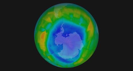 visualização do buraco de ozônio em agosto de 2011