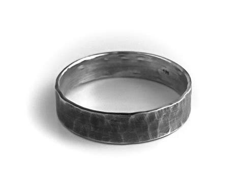 Men's Sterling Silver Ring   Rustic Wedding Band Hammered