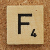 Wood Scrabble Tile F
