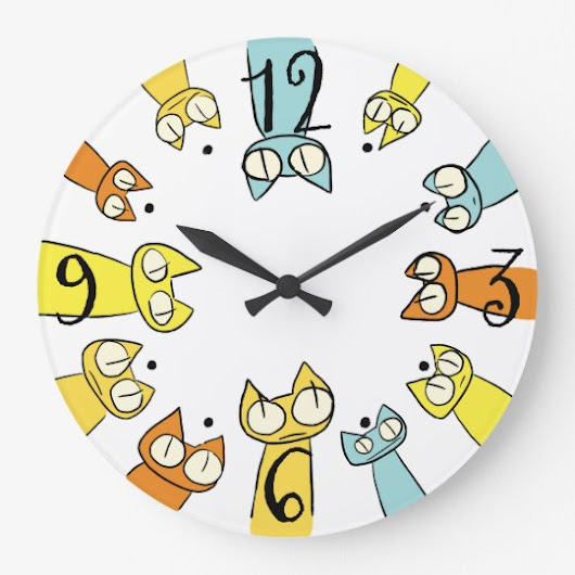 Colorful Staring lot Cats Large Clock
