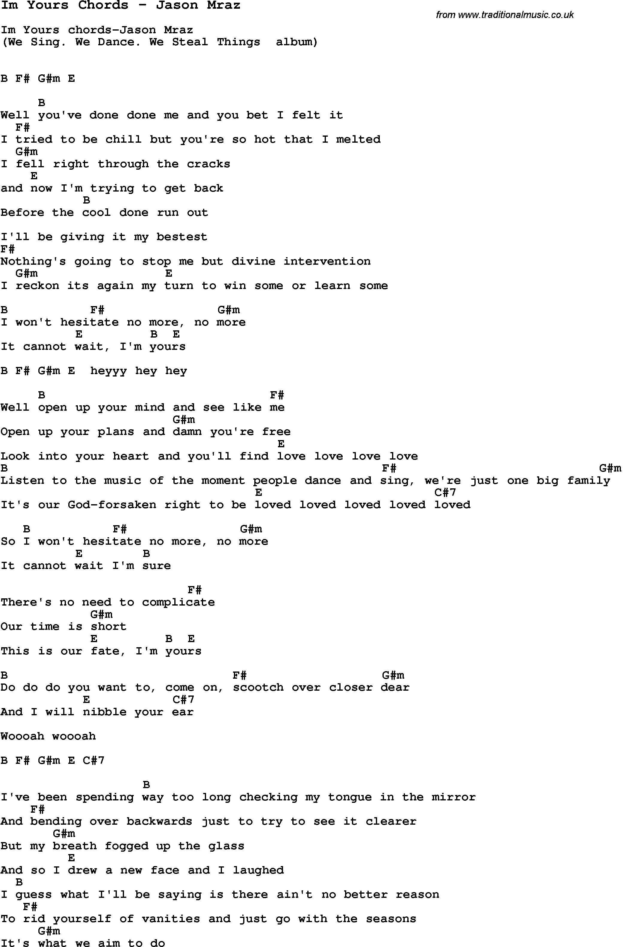 Jason Mraz Im Yours Chords 2015confession