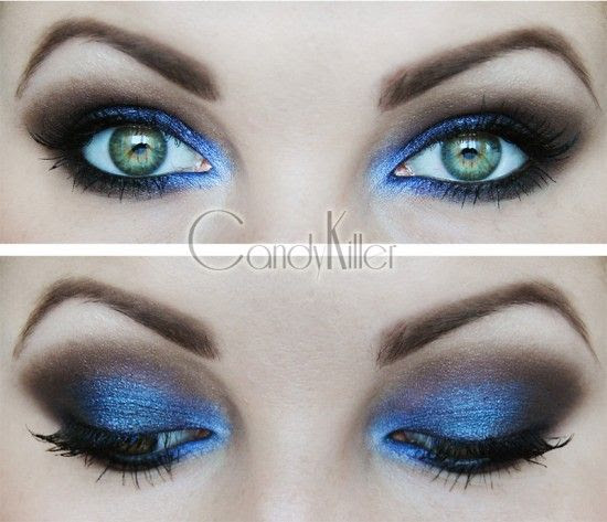 Nommy bright blue n' black smoky eye. the perfect blue. #beautyalong www.beautyalong.com