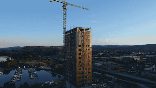 Video of the Mjøstårnet, the future tallest wood building in the world
