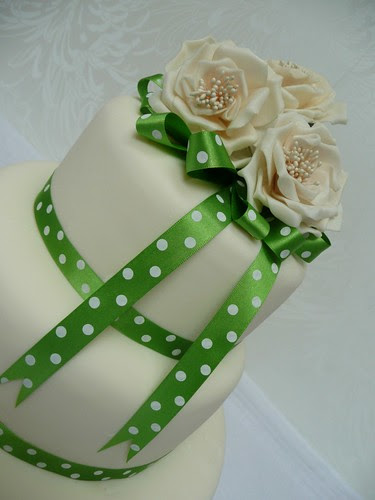 green polka dot wedding cake
