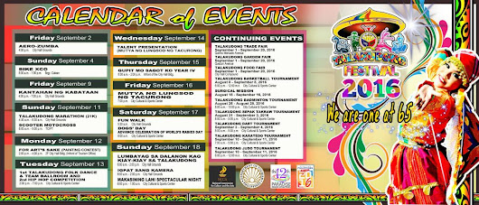 Tacurong City's Talakudong Festival 2016 Schedule of Activities