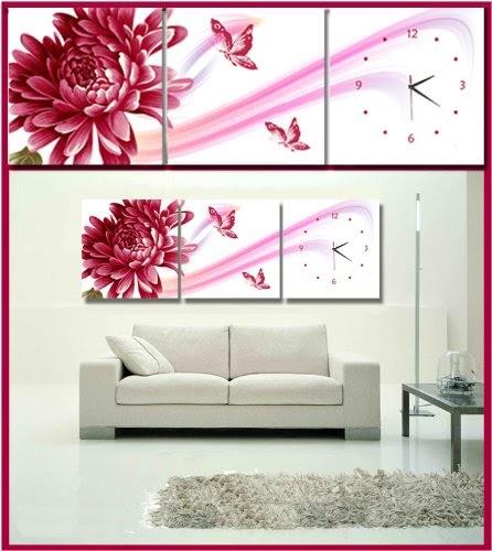 cadres tableau horloge triptyque papillon et fleur rouge 120 40cm livraison gratuite. Black Bedroom Furniture Sets. Home Design Ideas