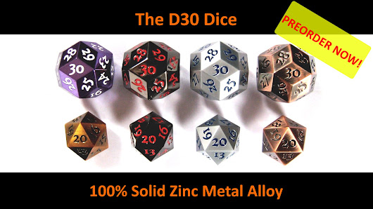 Pre-order D30 Super Heavy Solid Metal 30 face Dice For Tabletop Gaming on BackerKit