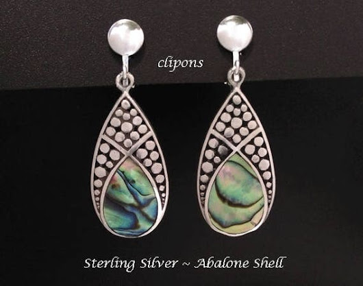 Clip On Earrings: Fabulous Abalone Shell in Stunning Sterling