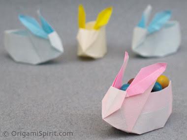 Origami caixa com a forma de um coelho