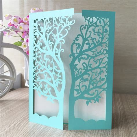30pcs/Lot Laser Cut Tree Inviting Card Paper Party Event