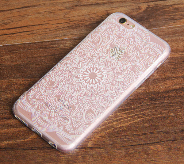 White Lace Mandala Floral Iphone 6s 6 Clear Case Iphone 6 Plus