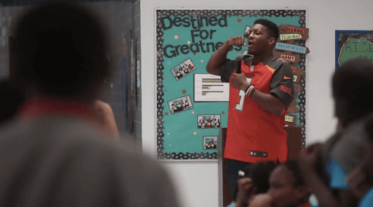 "Famous football-playing rapist Jameis Winston tells elementary school girls to be ""silent"""
