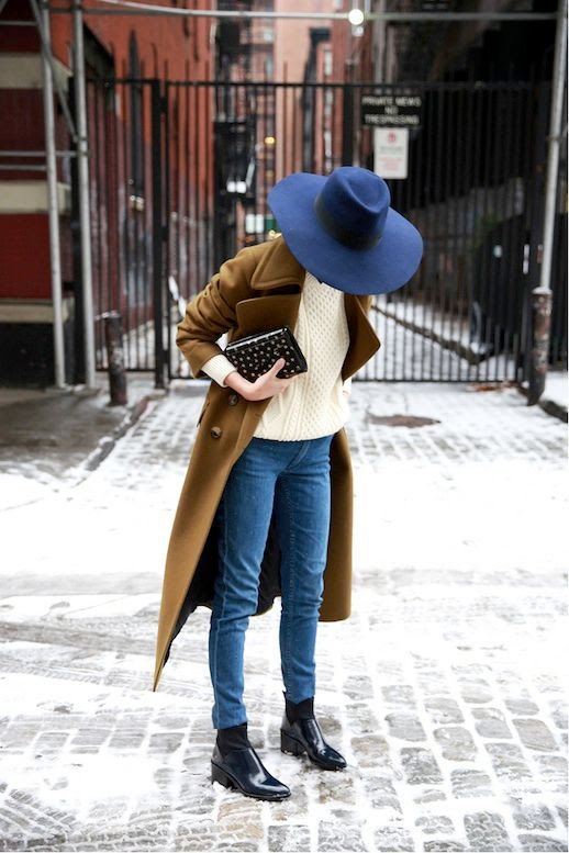 Le Fashion Blog Blue Fedora Longline Coat Cream Cable Knit Sweater Black Patent Leather Ankle Boots Via Man Repeller
