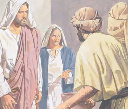 Jesus with his mother and servants