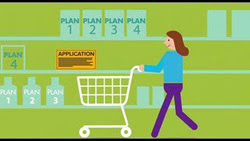 Illustration of woman with shopping cart in a store.