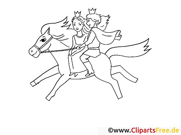 prinz und prinzessin reiten auf pferd ausmalbilder maerchen