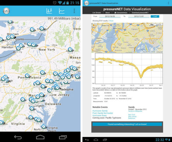 PressureNET app (left) and the accompanying website (right) allow users to see their barometric measurements and the crowdsourced data.