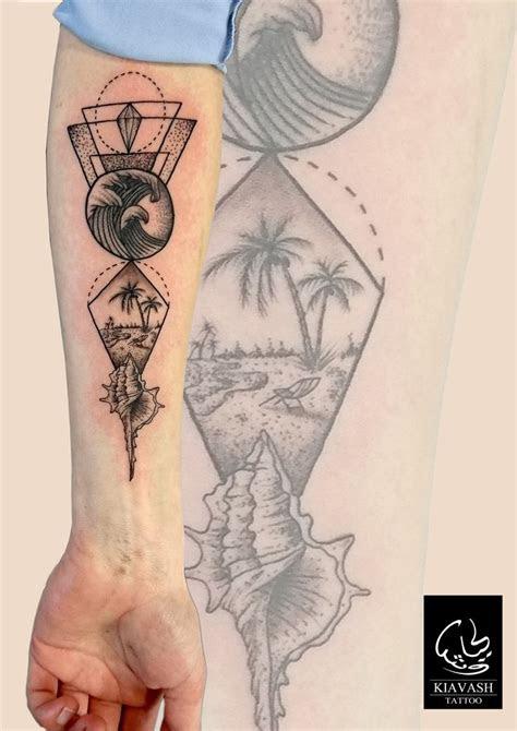 dotwork geometric beach tattoo tattoos sleeve tattoos