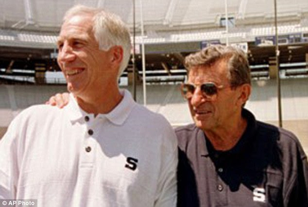 Former leaders: Jerry Sandusky (left) was the defensive line coach under head coach Joe Paterno (right) before Sandusky retired in 1999