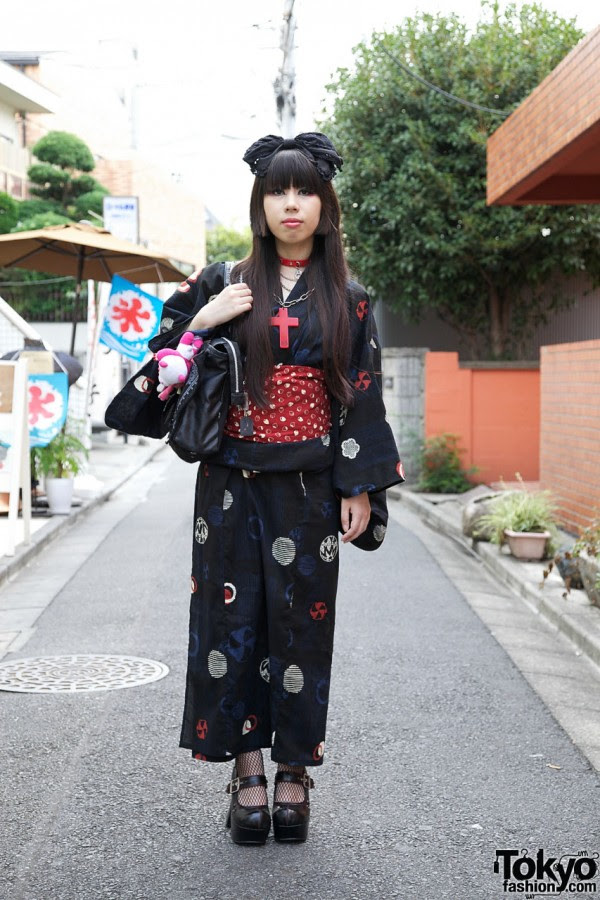 Yukata x Gothic Fashion in Harajuku