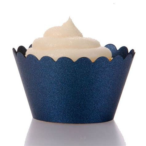 Emma Cupcake Wrappers   Metallic Navy Blue (12 Wrappers
